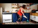 Chubby mom in pantyhose rubs pussy with dish brush part 2