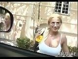 Barefaced doxy fucks around in a bus and gets creampied