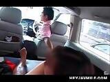 Japanese hot mommy taking a sex ride gives BJ as pay way ticket